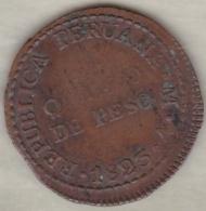 Peru 1/4 Peso Quarto De Peso 1823 Lima V . Copper . KM138 - Peru