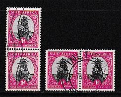 SOUTH AFRICA UNION  1951 Used Pair Stamp(s) Redrawn 1d Grey-carmin Nr. 134 #12279 - South Africa (...-1961)
