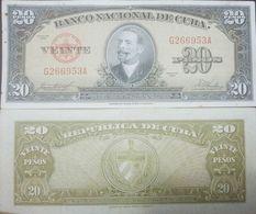 L) 1958 CUBA, BANKNOTES, ANTONIO MACEO, MILITARY, 20 PESOS, SHIELD, LIGHTLY TONED FINE, XF - Cuba