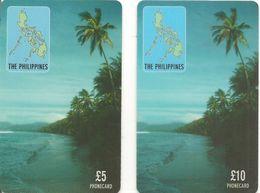 2-CARTES+-PREPAYEE-GB-5/10£-1998-ACC TELECOM-PHILIPPINES-Plastic Fin-TBE - Ver. Königreich