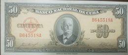 L) 1958 CUBA, BANKNOTES, CALIXTO GRACIA INIGUEZ, PEOPLE, 50 PESOS, TWO COLORS, ORANGE, BROWN, LIGHTLY TONED, UNC, XF - Cuba