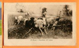 P144, Bergère, Berger, S. Bruzzi, Guardiana Del Campo, Mouton, Brebis, Sheep, Circulée 1918 - Landbouw