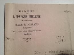 Banque De L'épargne Public, 1881, Vente, Actions, Chemin De Fer Des Vaux à Fréjus - Actions & Titres