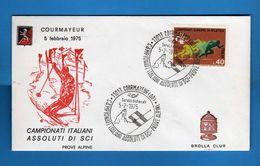 ( Riz1)Anno 1975 - Courmayeur - Campionati Assoluti Di SCI  Annullo Filatelico, 05/02/1975.  Vedi Descrizione - Sport Invernali