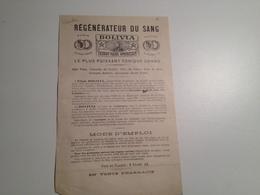 Régénérateur Du Sang, Bolivia, Extrait Fluide Américain , Publicité, Vers 1900 - Advertising