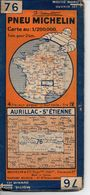 Carte Routière Michelin Numéro 76 Aurillac St étienne Année 1939 - Roadmaps