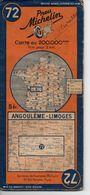 Carte Routière Michelin Numéro 72 Angoulème Limoges Année 1938 - Roadmaps