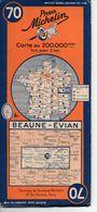 Carte Routière Michelin Numéro 70 Beaune Evian Année 1938 - Roadmaps
