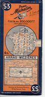 Carte Routière Michelin Numéro 53 Arras Mézières Année 1939 - Wegenkaarten