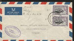 J) 1950 CEYLON/SRI LANKA, WILD ELEPHANTS, PAIR, PURPLE CANCELLATION, AIRMAIL, CIRCULATED COVER, FROM SRI LANKA TO GERMAN - Sri Lanka (Ceylon) (1948-...)