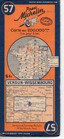 Carte Routière Michelin Numéro 57 Verdun Wissembourg Année 1938 - Roadmaps