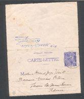 Carte Lettre Entier Mercure 1F Violet - Entiers Postaux
