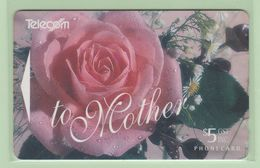 New Zealand - Gift Cards - 1994 Mother's Day - $5 Pink Rose - NZ-G-1 - VFU - New Zealand