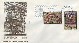 1980 , SOBRE DE PRIMER DIA , ED. 2593 / 2594 , NAVIDAD - FDC