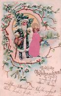 Fröhliche Weihnachten, Père Noël Et Enfant, Litho Gaufrée Et Tissu (16.12.02) - Santa Claus