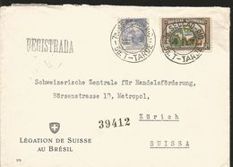 J) 1938 BRAZIL, COFFEE, LEGATION OF SWITZERLAND IN BRAZIL, REGISTERED, MULTIPLE STAMPS, AIRMAIL, CIRCULATED COVER, FROM - Brazil