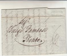 Pref. Strigno Per Trento. Lettera Con Contenuto 1845 - Italia