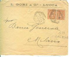 """EFFIGE UMBERTO I Cent.20 Coppia,S39, TARIFFA LETTERA DOPPIO PORTO,TIMBRO LUCCA  A BARRE DETTI """"BIZZARRI,1892,GORI-LUCCA - 1878-00 Umberto I"""