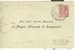 AMB. TORONTOLA-FOLIGNO (C) -C.P. , 1915,  ACQUA SANGEMINI - ROMA - 1900-44 Vittorio Emanuele III