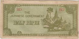 Birmania - Burma 1/2 Rupee 1942 Pick 13.a - Myanmar