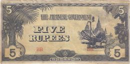 Birmania - Burma 5 Rupees 1942 Pick 15.b Ref 1553 - Myanmar