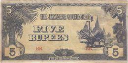 Birmania - Burma 5 Rupees 1942 Pick 15.b Ref 183-2 - Myanmar