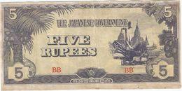 Birmania - Burma 5 Rupees 1942 Pick 15.b Ref 183-4 - Myanmar