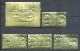 311 Pabay JK Kennedy Churchill Série Complète 5 VALEURS OR Gold Stamps - Kennedy (John F.)