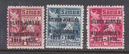 Samoa SG 177-179 1935 Silver Jubilee Mint Hinged - Samoa