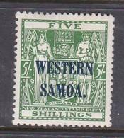 Samoa SG 190 1935-42 Arms Of NZ  Definitives Five Shillings Green,Mint Hinged - Samoa