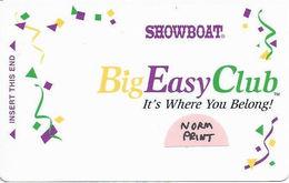 Showboat Casino - Las Vegas, NV - BLANK Big Easy Club Slot Card - Normal Printing - Casino Cards