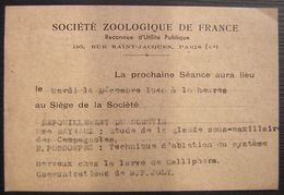 1948 Société Zoologique De France (Paris) Carte Postée Rue Cujas - 1921-1960: Période Moderne