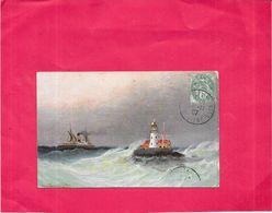 ILLUSTRATEUR   - CPA  COLORISEE - Passage D'un Bateau Près Du Phare - 1906 - DRO - - Künstlerkarten