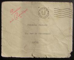 """1935 Griffe Rouge """" Président De La République """" Sur Une Lettre Postée à Paris 49 Rue La Boétie - Marcophilie (Lettres)"""