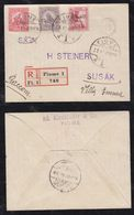 Fiume 1919 Registered Cover Hungary Overprint Stamps - 8. WW I Occupation