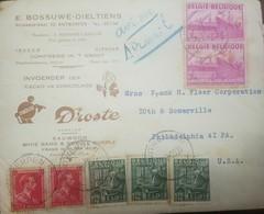 O) 1950 BELGIUM. AIRMAIL, INSDUTRIAL ARTS SCOTT A99 - COMMUNICATION CENTER A101, COCOA CHOCOLATE DROSTE. TO PHILDELPHIA. - Airmail