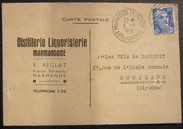 1951 Marmande  (Lot Et Garonne) Distillerie Liquoristerie R. Réglat, Carte De Commande De Rhum Négrita Bardinet Bordeaux - 1921-1960: Periodo Moderno