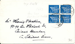 Ireland Cover 1972 With A Block Of 4 From Booklet - Briefe U. Dokumente