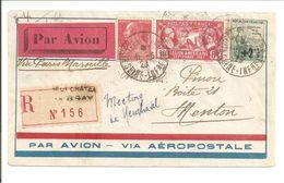 76Neufchatel En Bray>Menton.R + Avion.Pasteur-Legion Americaine-Orphelins De La Guerre - 1927-1959 Covers & Documents