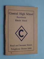 CLASSICAL HIGH SCHOOL Providence RHODE ISLAND ( 81 Pag. - 9 X 13 Cm. / Zie Foto Details ) ! - Diplômes & Bulletins Scolaires