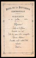 MENU 1892 - 16 X 10 CM -  HOTEL DE LA PROVIDENCE - CONTREXEVILLE - Menus