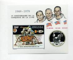 Rwanda-1980-100 Ans D'Apollo 11-bloc 84***MNH-NON Dentelé-petit Tirage - Africa