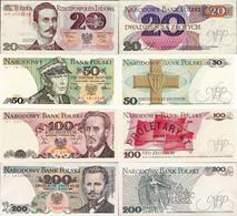 Poland 1982-88 - Set 20+50+100+200 Zlotych - Pick 149-144 UNC - Polen