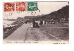 27 Vernon Le Quai Caméré L' été Dit Plage Vernonaise Cpa Animée Cachet 1912 - Vernon