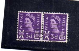GREAT BRITAIN GRAN BRETAGNA 1958 QUEEN ELIZABETH II REGINA ELISABETTA 3p PENCE SCOTLAND USATO USED OBLITERE' - 1952-.... (Elizabeth II)