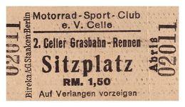 2.Celler Grasbahn-Rennen , Eintrittskarte Ca. 1932 , Motorsport Celle , Bier - Werbung , Schilling-Bräu , Motorrad Club - Motorräder
