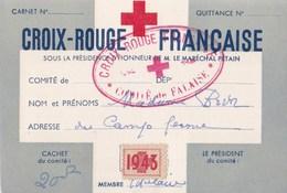 Croix Rouge Française Carte De Membre Comité De Falaise (14) Sous Pétain 1943 - Vieux Papiers