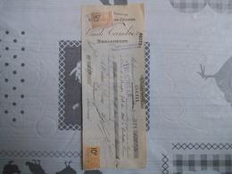 BERLAIMONT NORD EMILE CAMBIER SIEGES EN BOIS COURBE TRAITE DU 15 DECEMBRE 1923 TIMBRES FISCAUX - France