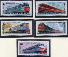 SOVIET UNION 1982 Railway Locomotives Set Of 5 MNH / **.  Michel 5175-79 - Unused Stamps