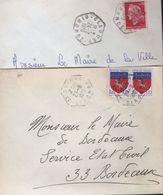 Lettres Avec Cachets Manuels: 33-Coirac Et Claouey Hexagone Traits Pleins - Handstempel